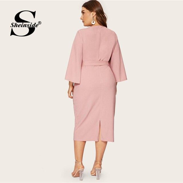 Sheinside Plus Size Split Sleeve Midi Dress Women 2019 Spring Elegant Solid Zip Back Pencil Dress Ladies Belted Trim Dresses 2