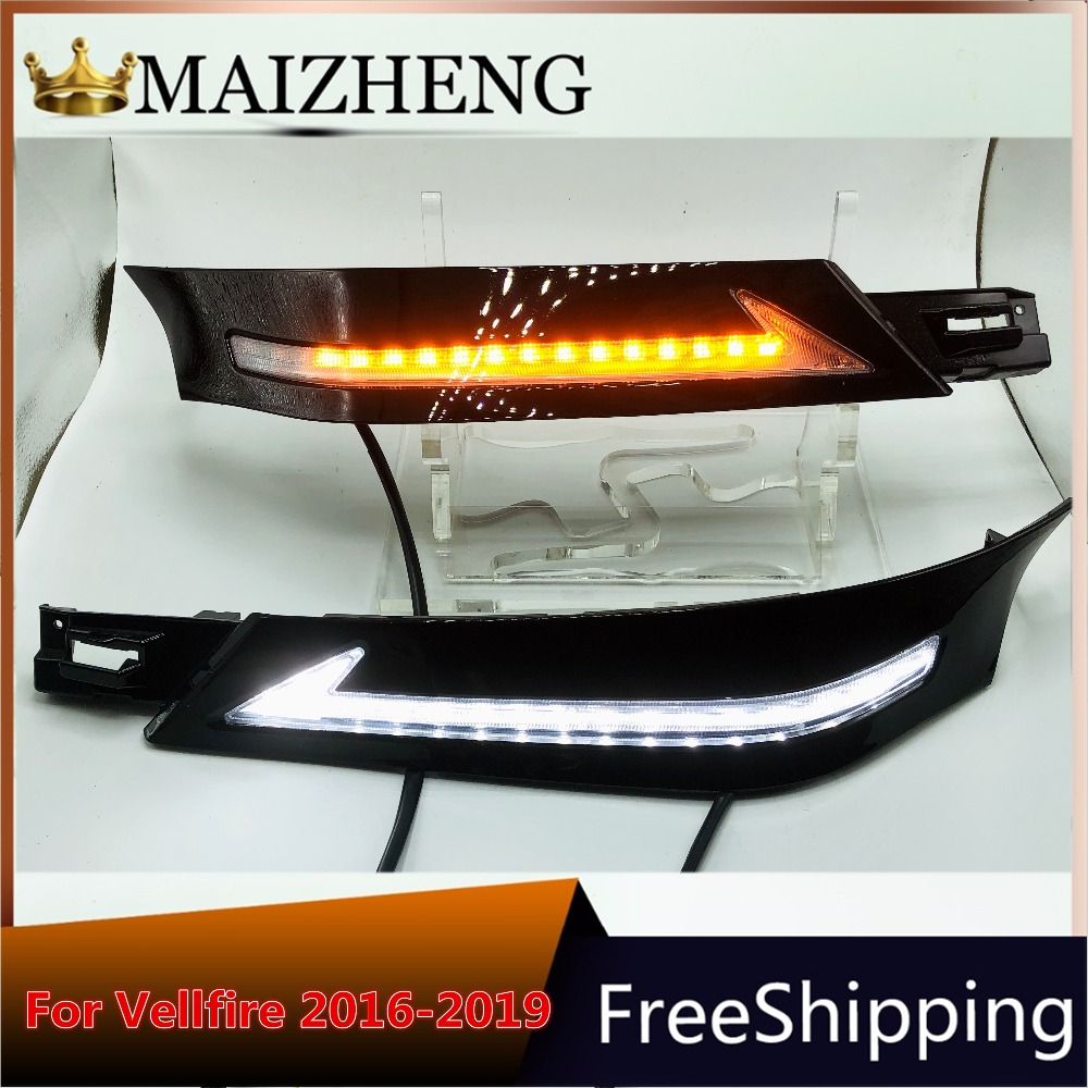 led daylight for Toyota Vellfire 30 with running siganls 2016 2017 2018 12v LED CAR DRL Daytime Running Lights fog lamp