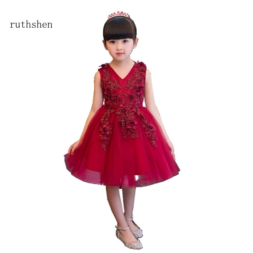 ruthshen Stunning Real Photo Beaded Appliques   Flower     Girl     Dresses   A Line Party Gown Sleeveless Vestidos De Comunion Sequins 2018