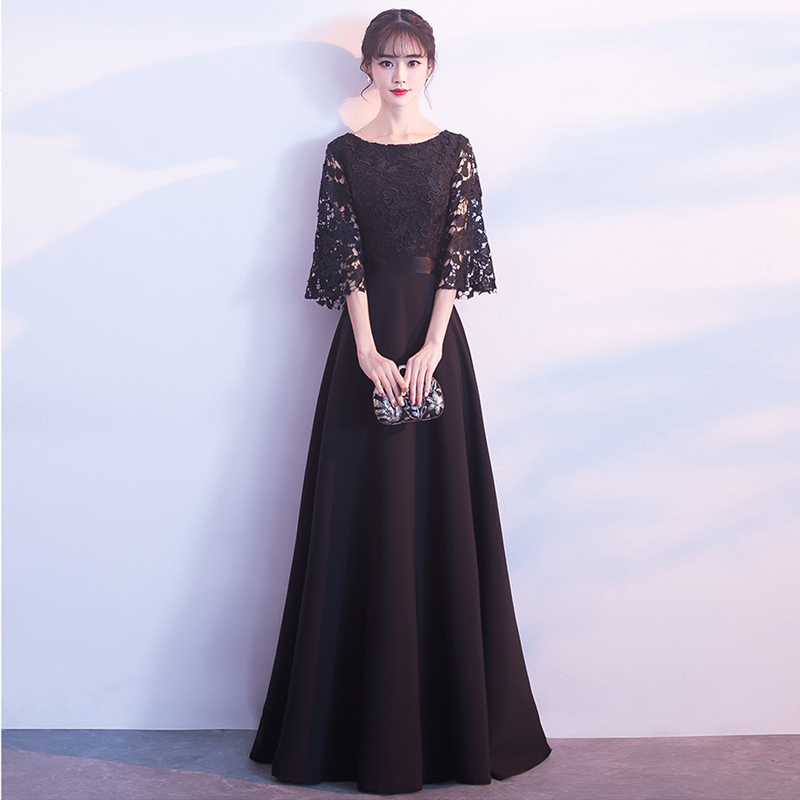Plus Sizes Elegant Evening Dresses Saudi Arabia Fashion Lace Chiffon Black Half Sleeves Long Muslim Dress 2019 Party Gowns