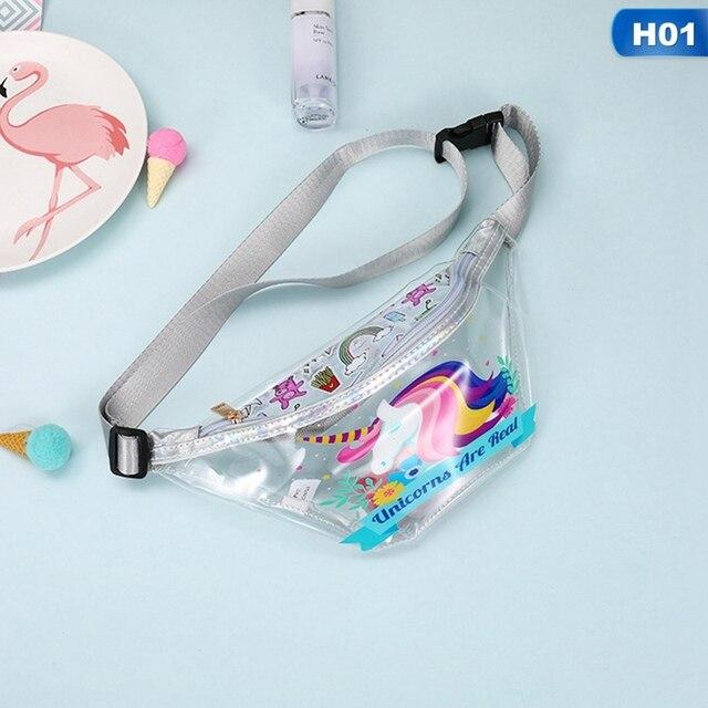 Nova Flamingo Unicórnio Menina Mulheres Saco Da Cintura PVC Transparente À Prova de água de Viagem Dos Desenhos Animados Telefone Bolsa de Dinheiro Cinto Saco Fanny Packs Criança