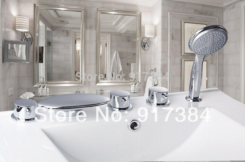 New Deck Mounted Triple Handles 5Pcs Brass  Bathroom Bathtub Sink Mixer Tap Basin Chrome Finish Faucet Set LY-47CC13 deck mounted bathroom basin sink bathtub