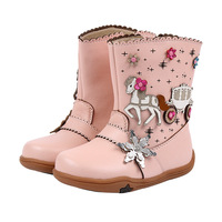 2018New Winter Children Shoes Leather Barefoot Boots Kids Snow Boots Brand Girls Rubber Fashion Sneakers Pink flower boots shoes