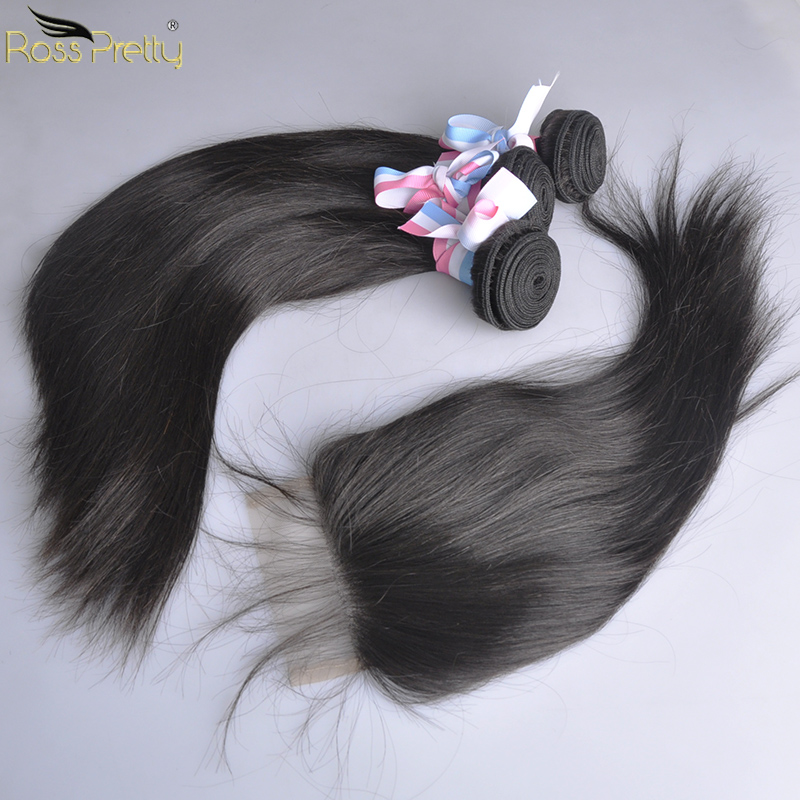 Brazilian Straight Human Hair Bundles With Closure Pre Plucking Baby Hair Lace Closure With Bundles Human Hair Weave Non Remy