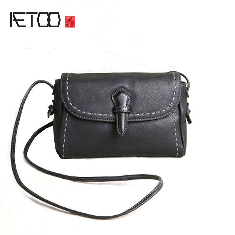 Aetoo 원래 수제 여성 가죽 핸드백 미니 가방 가죽 가죽 어깨 가방 메신저 가방 간단한-에서탑 핸드백부터 수화물 & 가방 의  그룹 1