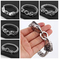 Rock Boys Mens New Stainless Steel Figaro Rolo Chain Bracelet Gothic Wolf/Skull/Lion/Dragon/Owl Head Bangles Jewelry Silver Tone