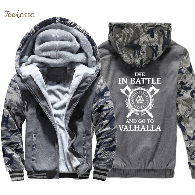 Odin Vikings Hoodie Coat Men Die In Battle And Go To Valhalla Hooded Sweatshirt 2018 Winter Fleece Thick Son of Odin Jacket Mens 1