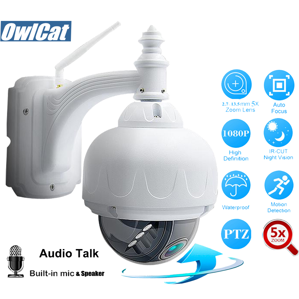 OwlCat HD Outdoor Dome PTZ IP Camera Wifi 5X Zoom Auto Focus 2 5MP Two Way