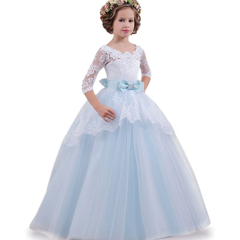 Girls Princess party Dresses Children Lace Bridesmaid Wedding Flower Girl Dress Princess Party Dresses Teen baby Girls Clothing ...