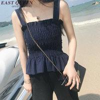 Brallete tanktop woman sleeveless vest tops elegant ladies tank top peplum cotton pleated camisole AA2308 YQ