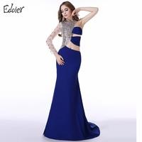 Long Evening Dresses 2017 Mermaid One Shoulder Long Sleeve Beaded Crystal Chiffon Prom Dress Arabic Women Formal Evening Gowns