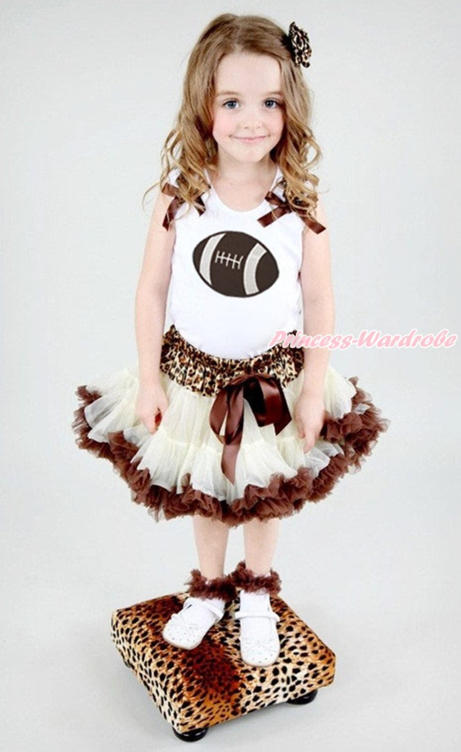 Rugby Ball Sports White Top Leopard Waist Beige Brown Skirt Girl Outfit Set 1-8Y pgi 425 cli 425 refillable ink cartridges for canon pgi425 pixma ip4840 mg5140 ip4940 ix6540 mg5240 mg5340 mx714 mx884 mx894