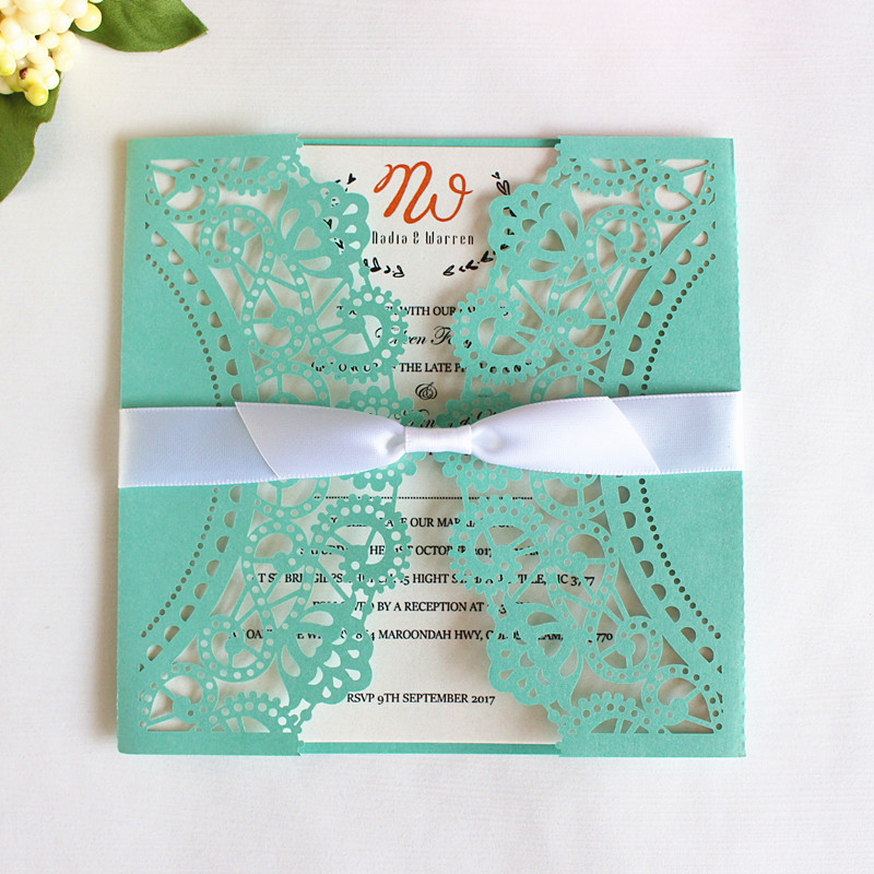 White lace butterfly invitation card with envelopes for wedding anniversary birthday party custom made laser cut