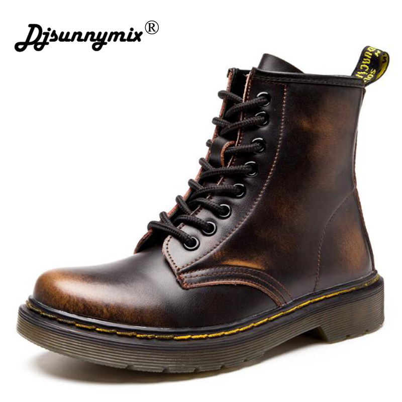 DJSUNNYMIX Brand 2018 New England Style Women Martin Boots autumn winter genuine leather unisex Ankle boots plus Size 35-46