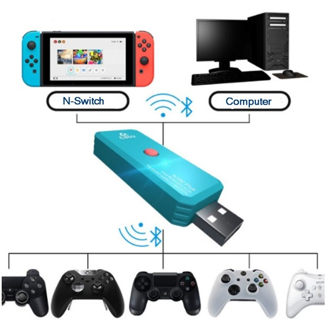 N100 Plus Dual Bluetooth Wireless Adapter for Nintendo Switch / Xbox One S  PS4 X1 Wiiu 360 Controller