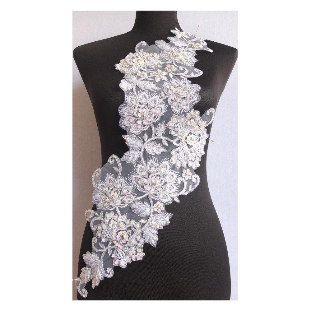 2pcs Flower Shape Sequin Beaded Applique Patch Sewing Embellishment Decor