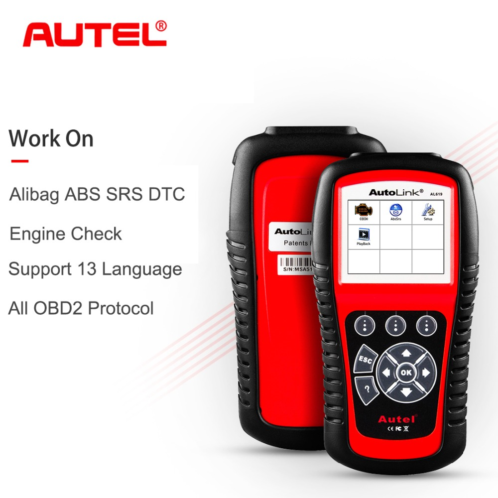 Cheapest Autel AutoLink AL619 CAN OBD2 Car Diagnostic Tool Scanner Code Reader ABS/SRS Scan Tool,Turns off Engine Light free shipping high quality autel autolink al301 obd2 can code reader auto link al301 auto diagnostic scan