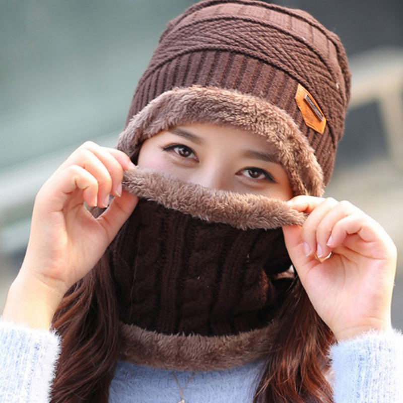 Winter Warm Knit Baggy Beanie Hat Ski Cap Scarf Set Men Women Fashion Hat Neckerchief Beanie
