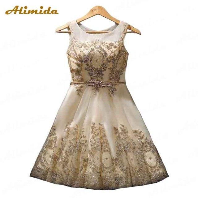 8ff042d25c Dourado Vestido de Noite Curto 2017 Novo Casamento Do Laço Bordado Vestido  de Festa robe de