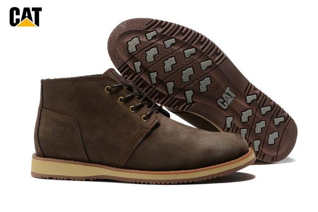 Cat Footwear Men Coffee High Heels Genuine Leather Anti Slip Male