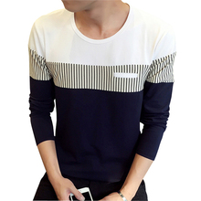 2017 Spring New Men's T Shirt Fashion O Neck Long Sleeve Casual Stripe T Shirts Men High Quality Cotton T-Shirt Plus Size 5XL sexy hollow high neck stripe pattern t shirt