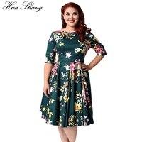 3XL 9XL Plus Size Floral Print Vintage Dress 1950s Women Autumn Half Sleeve V Back High