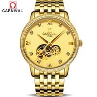 2017 New Sale Gold Watch Men's Women's Rhinestone Waterproof Wristwatch Dress Luxury Style Watches Steel Bracelet Relogio Clock