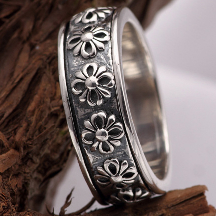 100% Retro 925 Sterling Silver Ring Fashion Rotatable Thai Silver Jewelry for Men Wholesale High Quality  Free Shipping