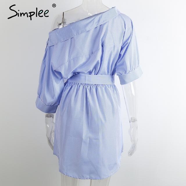Simplee Fashion one shoulder striped dress shirt Sexy side split beach dress women Elegant half sleeve waistband OL girls dress