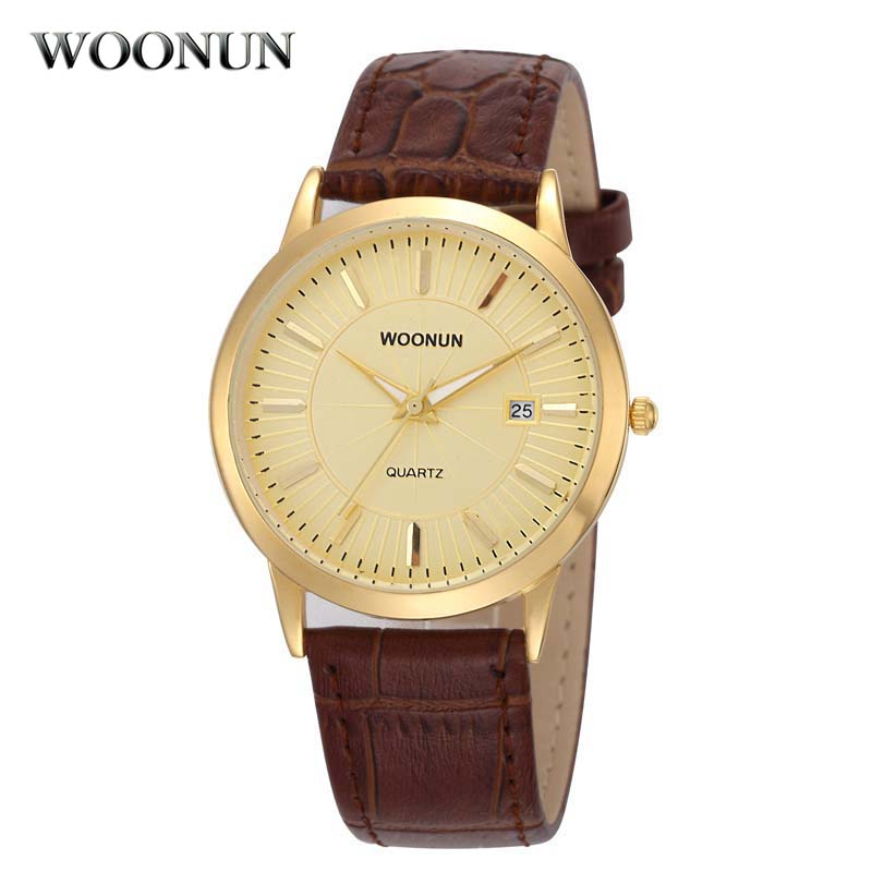 2017 WOONUN Gold Watch Men Mens Watches Top Brand Luxury Waterproof Date Quartz Watches Ultra Thin Watches Relogio Masculino woonun top famous brand luxury gold watch men waterproof shockproof full steel diamond quartz watches for men relogio masculino