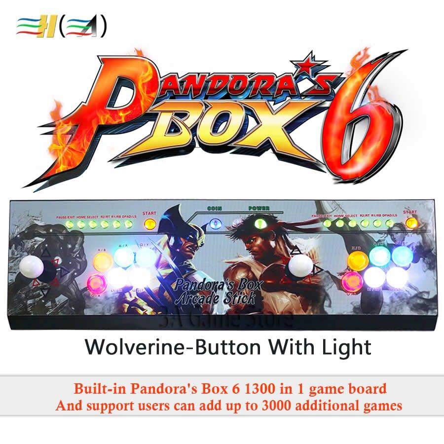 Nouveau Pandora boîte 6 1300 dans 1 arcade contrôle kit joystick usb boutons zéro retard 2 joueurs HDMI VGA arcade console contrôleur TV