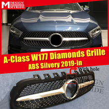 For MercedesMB W177 Sport grille grill Diamonds With Camera hole ABS Silver A Class A180 A200 A250 Look grills Without Sign 19+