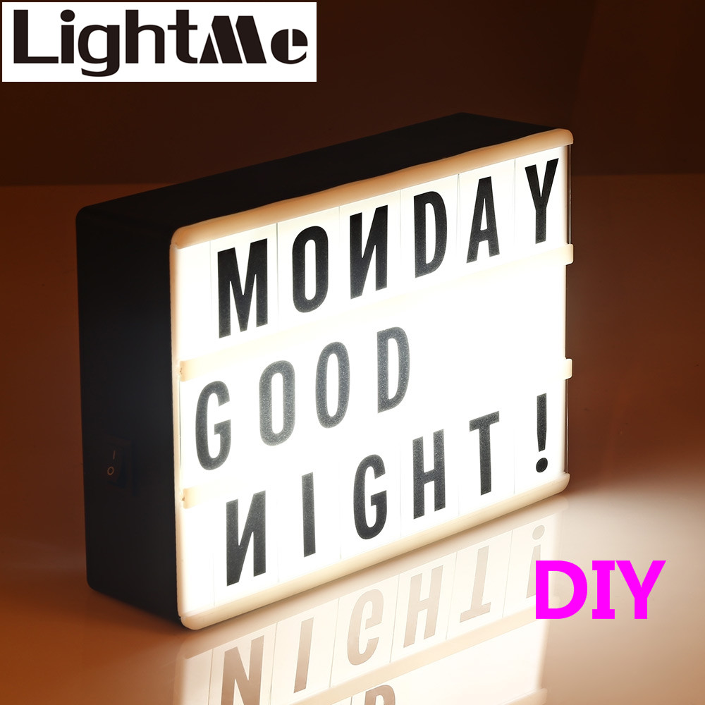 2018 Premuim Nuova A4 A6 Dimensioni Combinazione LED Light Box Lampada di notte FAI DA TE Lettere NERE Carte PORTA USB Alimentata Cinema Lightbox