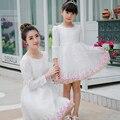 2017 осень девочка платье принцессы с длинным рукавом мать дочь платья мама и дочь платье рождество женщины белый кружевном платье