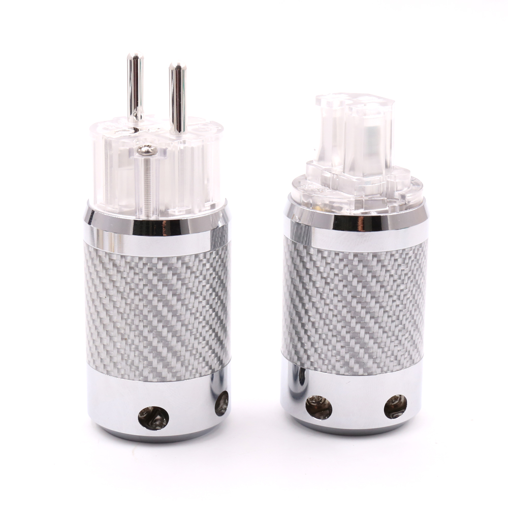 Hifi audio Silver Plated EU Schuko Power Plug IEC Female connector Carbon Fiber Metal Chassis Connector