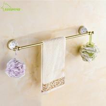 Античный Маленькая Кристалл Полотенца стойки твердой латуни одной Chrome полированная Полотенца Бар золото Полотенца держатель Аксессуары для ванной комнаты