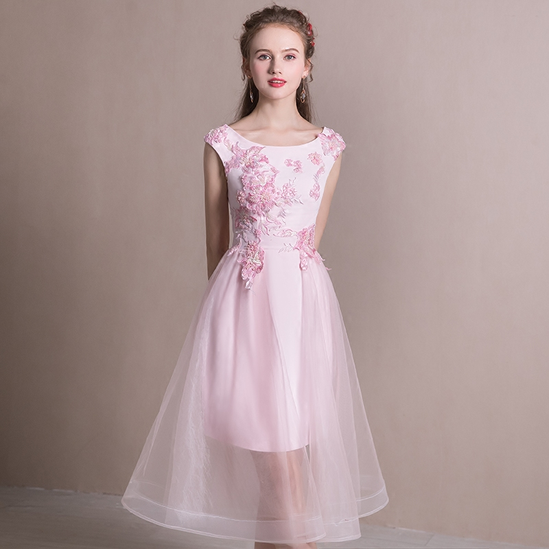 Bridesmaid Dresses SSYFashion Summer New Sweet Pink Lace Flower Tea length  Banquet Party Formal Gown Custom Made Robe De Soiree-in Bridesmaid Dresses  from ... 6e57145ff96a