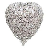 AYiCuthia Luxury Silver Wedding Bouquet Crystal Bridal Bouquet Wedding Brooch Bouquet Jeweled Wedding Bouquet S104