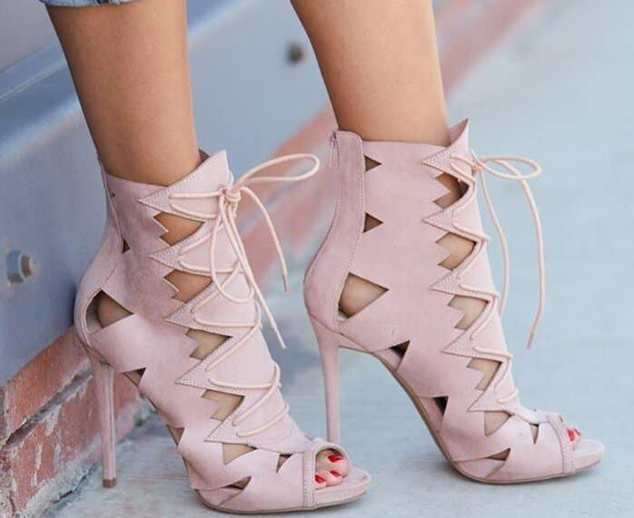 Summer New Brand Women Army Green/Pink/Burgundy/Nude Cuts Out Peep Toe Lace Up Front Zipper Back Thin Heels Ankle Sandals Boots cactus cs c1823d