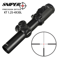Hunting SNIPER KT 1.25 4X30L Riflescope Compact R12 Glass Etched Reticle llluminate Turrets Lock Reset 35mm Tube Tactical Sight