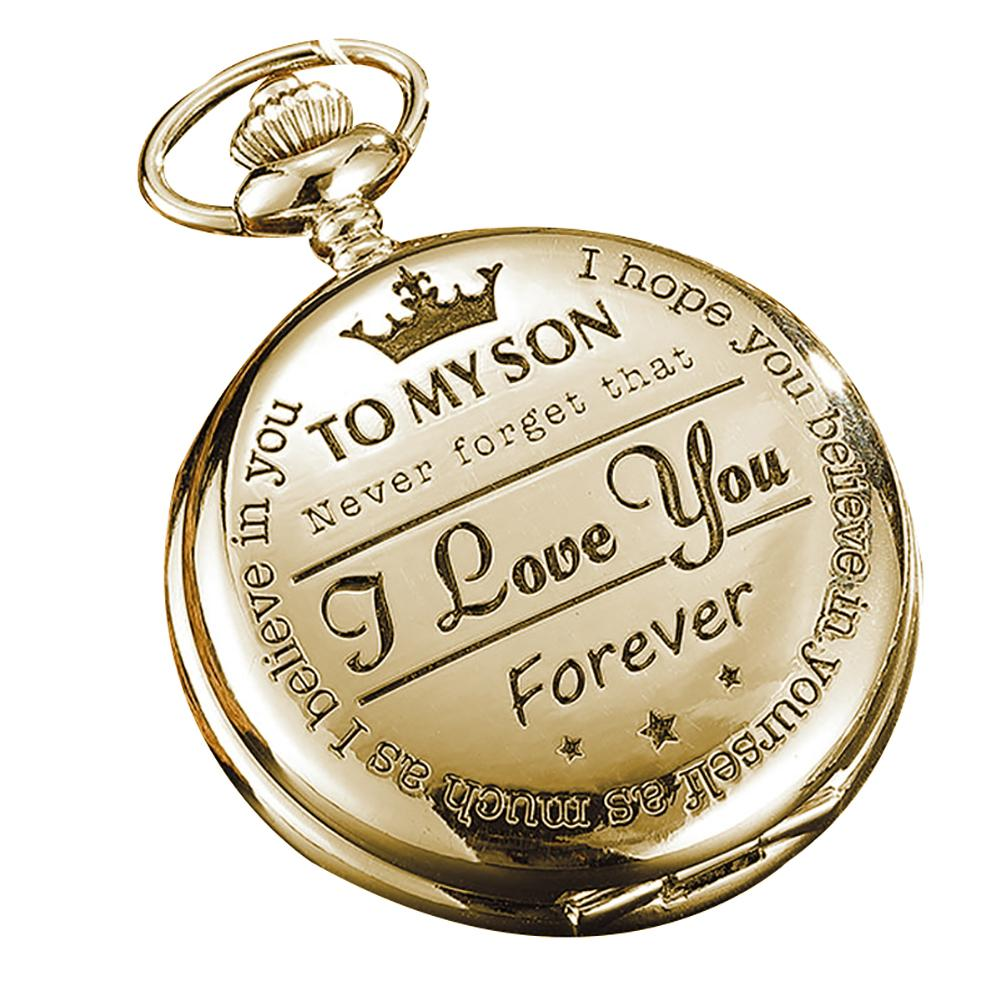 US $6 78 36% OFF Retro Love You Forever Letter Carved Large Round Dial  Quartz Pocket Watch Gifts 2018NEW-in Pocket & Fob Watches from Watches on