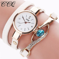 CCQ Brand   Watch   Women Luxury Gold Eye Gemstone   Dress     Watches   Women Gold Bracelet   Watch   Female Leather Quartz Wristwatchess