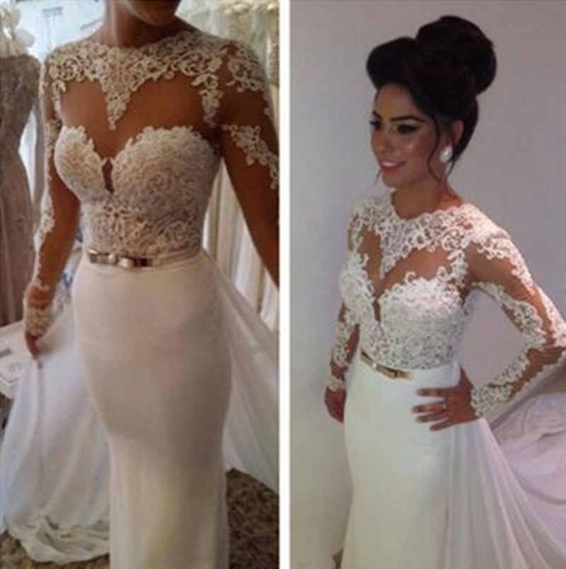 Vestido De Noiva Lace Wedding Dress 2017 O-Neck Long Sleeve Sheer Back Sweep Train Applique Wedding Gowns 2017 Bridal Dresses