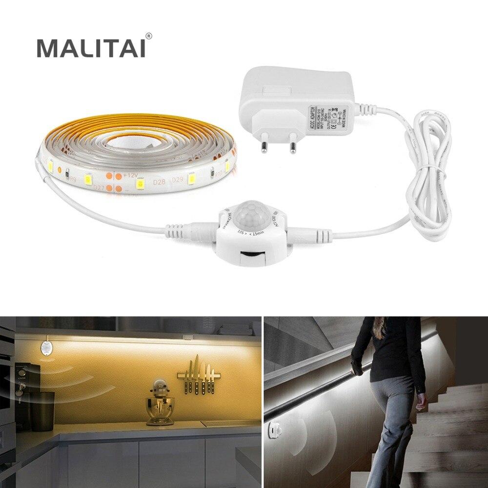 LED Motion Sensor Cupboard Wardrobe Bed Lamp Under Cabinet Night Light Flexible LED Strip 12V Tape 110V 220V US EU Power Supply(China)