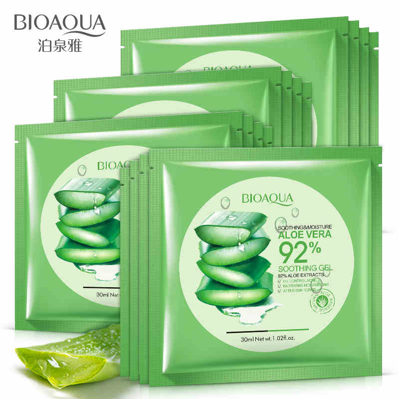 BIOAQUA Natural Aloe Vera Gel Face Mask Moisturizing Oil Control Shrink Pores Facial Mask Wrapped Mask cosmetic Skin Care