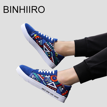 BINHIIRO 2019 Men's Vulcanize Shoes Print Canvas Fashion Lace-up Rubber Flat Sneakers Spring Autumn Casual Man Shoes BXLH052201