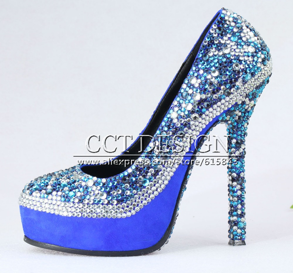 Sexy Women Rhinestones Royal Blue Party Shoes Platforms Crystals Wedding  Bridal High Heels Color Customized Size 35 42-in Women s Pumps from Shoes on  ... 3b2b052087d8