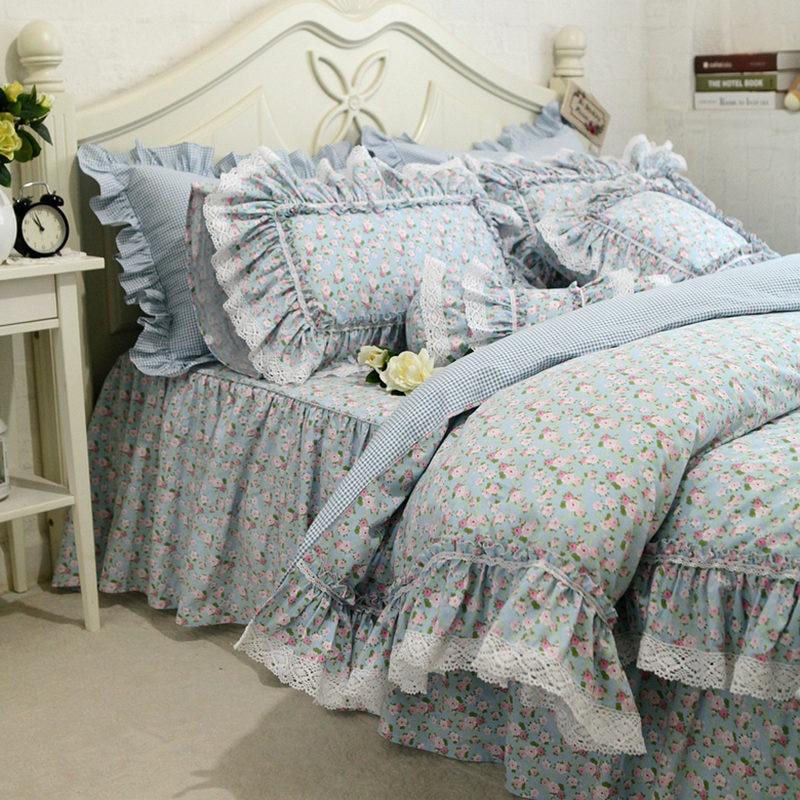 새로운 신선한 꽃 인쇄 침구 세트 레이스 프릴 이불 커버 품질 자수 침대 시트 목가적 인 침대 스커트 침대보 침구-에서침구 세트부터 홈 & 가든 의  그룹 1