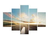 5 Pieces Free Shippting Highway Sunset HD Wall Art Print On Canvas For Home Decoration Wall
