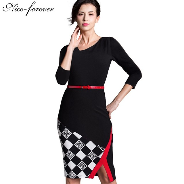 Nice-forever Summer Office Lady Sleeveless Belted Vintage Dress Irregular V Neck Patchwork Checks Zipper Pencil Fit Dress B290
